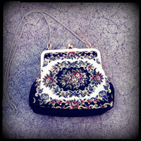 Vintage Needle Point Tapestry Evening Bag