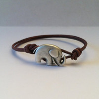Lucky Elephant Button Leather Bracelet by Jennasjewelrydesign