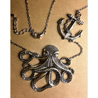 Octopus With Anchor charm Necklace Jewelry Vintage Style  Nautical Victorian Steampunk Large Lightweight Gothic Victorian