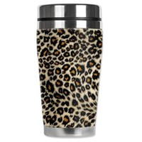 Amazon.com: Mugzie brand 16-Ounce Travel Mug with Insulated Wetsuit Cover - Small Leopard Spots: Kitchen &amp; Dining