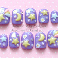 3D nails deco nails fairy kei sweet lolita star by Aya1gou on Etsy
