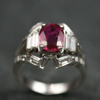 Ruby & Diamond White Gold Cluster Engagement Ring by Ruby Gray's | Ruby Gray's Antique & Vintage Rings