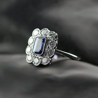 Tanzanite & Diamond Cluster Engagement Ring