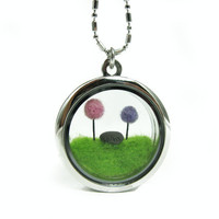Terrarium Dr Seuss Inspired Lorax Locket, LightPink and Light Purple Truffula Tree on Green Grass with Unless Rock Needle Felted