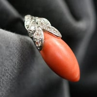 Fabulous 50s Coral & Diamond Cocktail Ring by Ruby Gray's | Ruby Gray's Antique & Vintage Rings