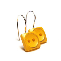 "Bright Yellow Earrings, Square Neon Dangles, Silver Hooks, Nickel Free Button Drop Earrings, Eco Spring Jewelry - ""Lemon Drops"""