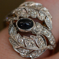 Cabochon Sapphire and Diamond Engagement Ring by Ruby Gray's | Ruby Gray's Antique & Vintage Rings