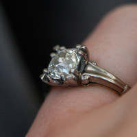 Diamond Single Stone Ring set in Platinum with a Gold Shank by Ruby Gray's | Ruby Gray's Antique & Vintage Rings