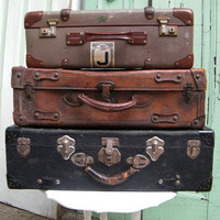 Vintage Leather Suitcase Trunk Brown Leather World Traveler