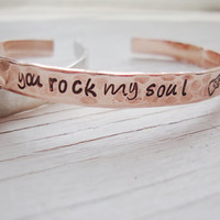 You rock my soul hand stamped hammered copper cuff with guitar stamp
