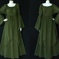 XS to 7X Made to Order Dress Hippie Gypsy Bohemian OLIVE GREEN Cotton Long Sleeve Maxi Dress - BH041