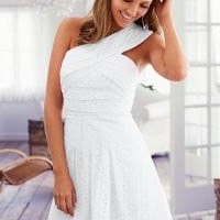 One shoulder eyelet dress in the VENUS Line of Dresses for Women