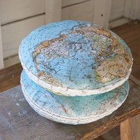 DIY GLOBE KIT no insert , vintage style map, 14 inch round, organic cotton pillow kit, made to order