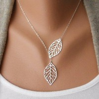 ANTIQUE SILVER Leaves Clavicle Chain Necklace