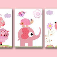 "Art for Children  Kids Wall Art Baby Girl Nursery Baby Room Decor Baby Nursery Decor Nursery print 8"" x 10"" rose elephant tree owl"