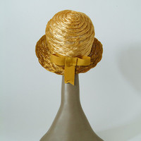 60's Yellow Ombre Raffia Hat