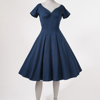 1950's Dark Blue Raw Silk Dress - Nipped Waist Wide Skirt -  Black Crinoline