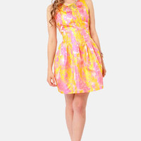 LOOKBOOK - Splash of Color Pink and Gold Brocade Dress