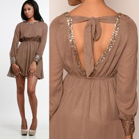 Boatneck Brown Chiffon Sequin Boat neck Mini Dress asos S M L