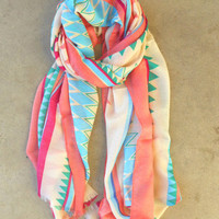 Spring Geometric Scarf [3754] - $21.00 : Vintage Inspired Clothing &amp; Affordable Fall Frocks, deloom | Modern. Vintage. Crafted.