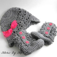 cute baby clothes, baby boots, baby girl hat and booties, pink, gray, baby shower gift, photo prop set