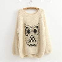 Beige Mohair sweater with owl