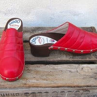Vintage Red Leather Ladies Danish Wooden Clogs Ladies Size 11