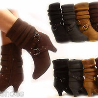 Women's Fashion Low Heel Mid-calf Zipper Sweater Top Boot Shoes 4 Colors NEW