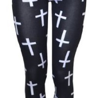 Amazon.com: Vip Boutique Cross Printed Leggings: Clothing