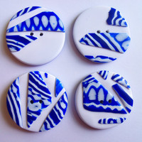 Mosaic Buttons polymer clay blue & white 1 by FlowertownOriginals