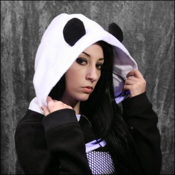 Panda Bear Shrug Hoodie Top DiY Handmade to Your by aNGrYGiRLGear