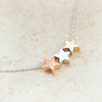 TriColor stars necklace by laonato on Etsy