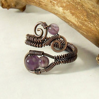 Amethyst copper ring wire wrapped antiqued rustic by VeraNasfa