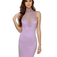 Beautiful Lavender Dress - Lace Dress - Body-Con Dress - $39.00