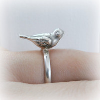 Little bird ring sterling silver  Metalwork ring by FoxInTheBox