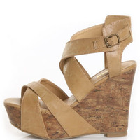 Soda Effect Lt Tan Strapped-In Mega Platform Wedges - $29.00