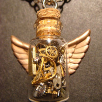 Unique Steampunk Necklace Vial Bottle with by CreepyCreationz