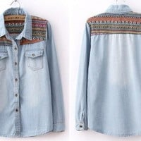 BlueBand — Tribal Print Vintage Blue Denim Shirt