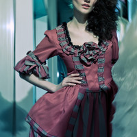 striped Marie Antoinette Victorian inspired costume dress