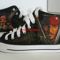 custom converse pirates of carribean  shoes by michellehandpainted
