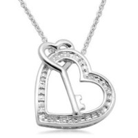"Sterling Silver Diamond Heart and Key Pendant Necklace (0.02 cttw, I-J Color, I3 Clarity), 18"": Jewelry: Amazon.com"
