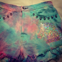 Pastel tie dye high waisted studded denim shorts with holographic unicorn