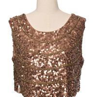 Sequin Copper Crop Top