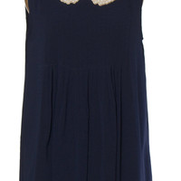 Navy Pearl Collared Dress