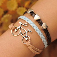 Charm bracelet bike braceletlove bike with love by fantasticgift