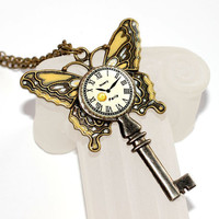 Butterfly Skeleton Key Necklace Hand Painted Art Nouveau Pendant