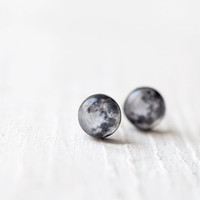 Full moon earring studs  - Tiny ear posts - Space jewelry (E102)