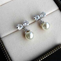 Sweet Crystal Ribbon Dangling Beads Earrings Studs. Cute Bow Earrings