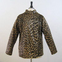 Leopard Coat Vintage 60s Faux Fur Cafe Racer Jacket M L
