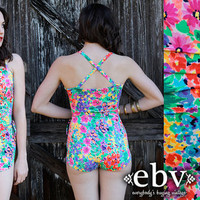 Vintage 80s Neon Floral Pin Up Bathing Swim Suit M L